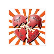 """4 hearts Square Sticker 3"""" x 3"""""""