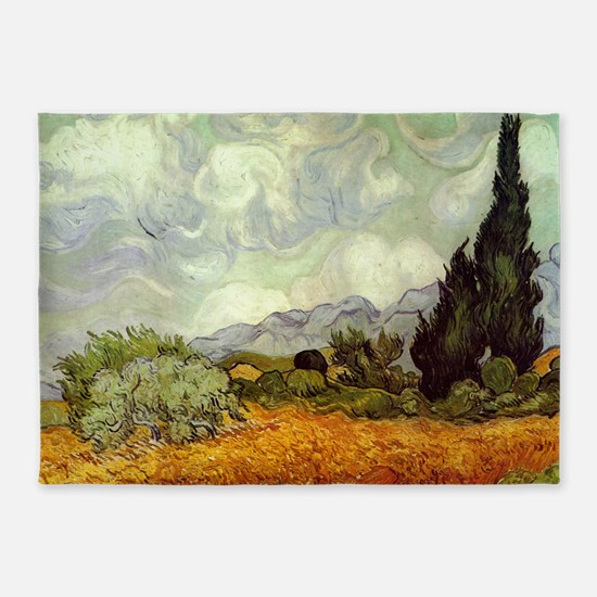 Wheat Field with Cypresses 5'x7'Area Rug