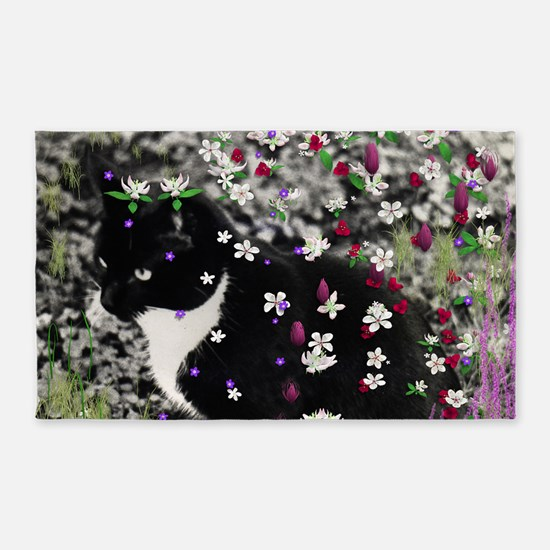 Freckles Tux Cat Flowers I 3'x5' Area Rug