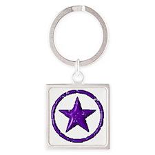 star   dark   purp Square Keychain