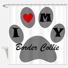 I Heart My Border Collie Shower Curtain