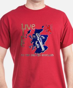 Live Life Scots Running Design T-Shirt