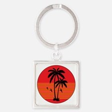 vintage-palm-tree Square Keychain