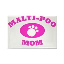 Malti Poo Mom in Pink Rectangle Magnet
