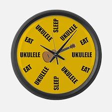 Eat Sleep Ukulele Large Wall Clock