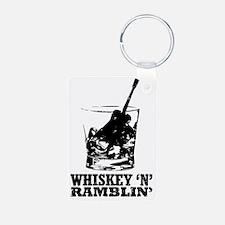 whiskey glass w-logo Keychains