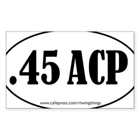 45ACP oval sticker PATH.eps Sticker (Rectangle)