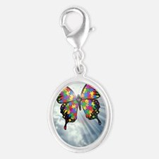 autismbutterfly - sky journal Silver Oval Charm