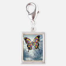 autismbutterfly - sky journa Silver Portrait Charm