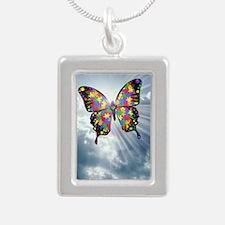 autismbutterfly - sky jo Silver Portrait Necklace