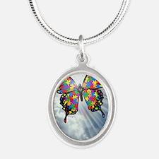 autismbutterfly - sky journal Silver Oval Necklace