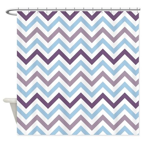Purple And Blue Chevron Shower Curtain By Cuteprints