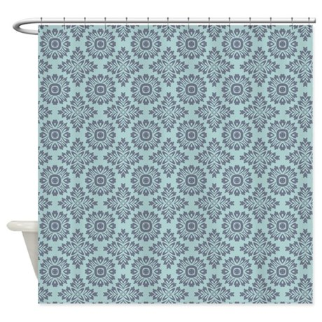 Grey And Blue Vintage Damask 2 Shower Curtain By Nature Tees