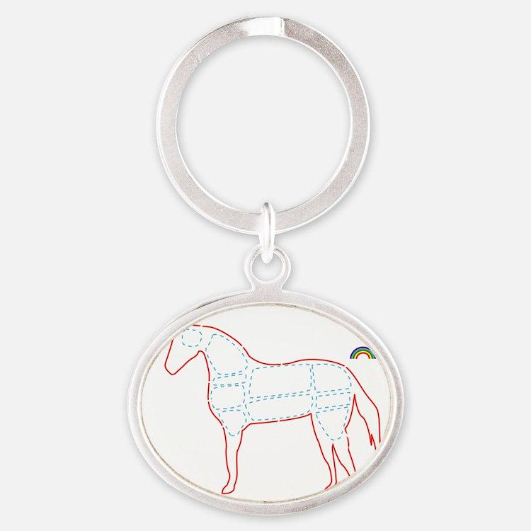 unicorn_cafepress Oval Keychain