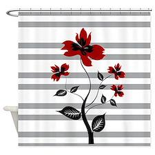 Modern Black and floral on gray stripes Shower Cur