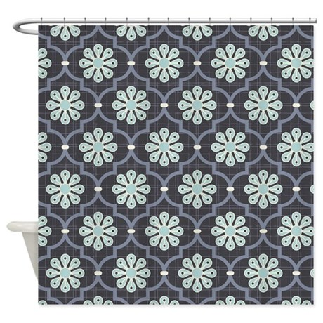 shower curtain artistic blooming tree blue grey navy blue