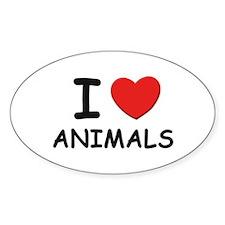 I love animals Oval Stickers