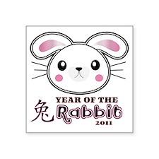 "Year of Rabbit 2011 Square Sticker 3"" x 3"""