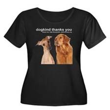 dogkindt Women's Plus Size Dark Scoop Neck T-Shirt