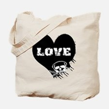 love_skull_blk Tote Bag