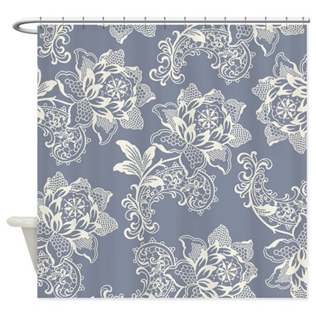 Gorgeous Blue And Cream Vintage Flo Shower Curtain By