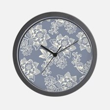 Gorgeous Blue and Cream Vintage Floral Wall Clock