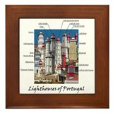 Lighthouses of portugal Framed Tiles
