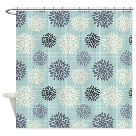 Blue Gray Cream Vintage Peonies Shower Curtain By Nature Tees