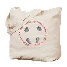 Valentine Baby Hands and feet baby  red F Tote Bag