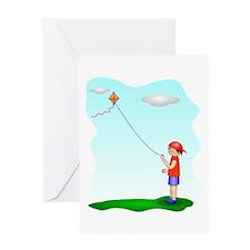 Kid Flying Kite Greeting Cards