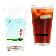 Kid Flying Kite Drinking Glass