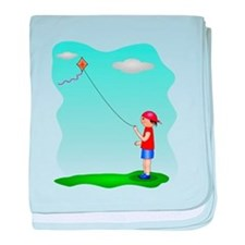 Kid Flying Kite baby blanket