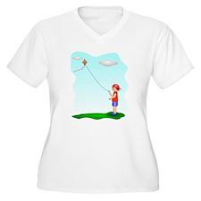 Kid Flying Kite Plus Size T-Shirt