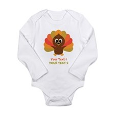 Personalize Little Turkey Long Sleeve Infant Bodys