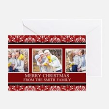 Red Damask Christmas Photo Greeting Card