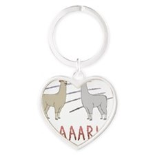 llama1-white Heart Keychain