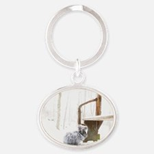 23x35_printFatssnow Oval Keychain