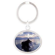 Blue Sunrise Oval Keychain