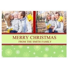 Colorful Snow Christmas Photo 5X7 Flat Cards