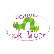 Book worm Cadence Oval Car Magnet