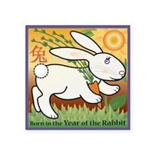 "RabbitTshirt Square Sticker 3"" x 3"""