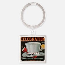 ORANGE COUNTY CELEBRATION LABEL Square Keychain