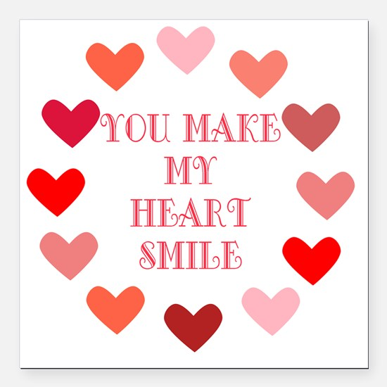 "heart smile Square Car Magnet 3"" x 3"""