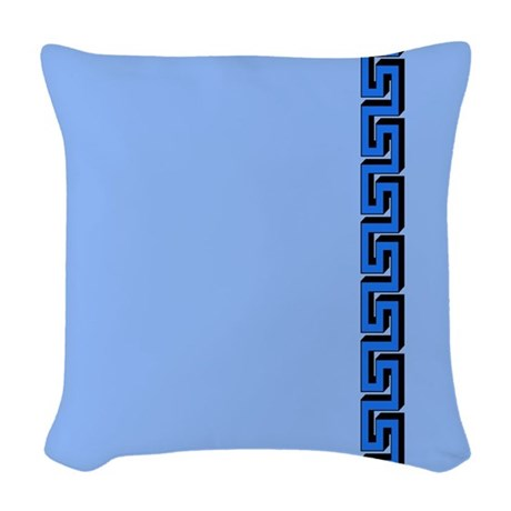 Blue Border Woven Throw Pillow by jqdesigns