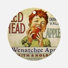 RED HEAD APPLES Round Ornament