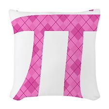 Pi Girl Pink Argyle Woven Throw Pillow
