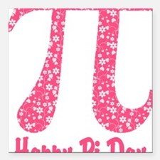 "Pink Flowers Pi Day Square Car Magnet 3"" x 3"""