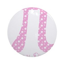Pink Dots Pi Day Round Ornament