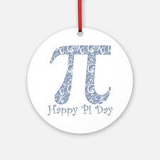 Chambray Swirls Pi Day Round Ornament