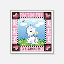"Best Westie Mom Square Sticker 3"" x 3"""